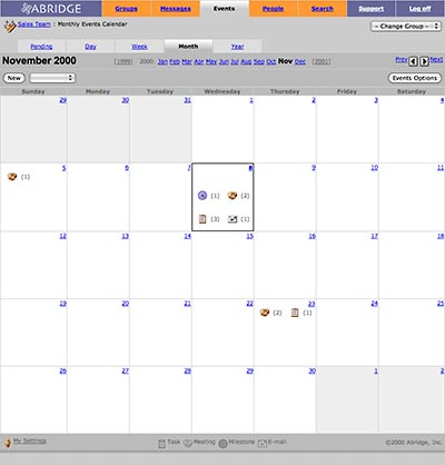 Abridge Project Manager: Calendar View