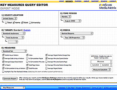 ComScore Media Metrix, Key Measures Wizard: Database Application Design