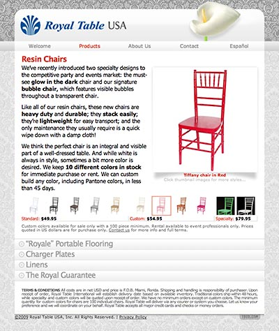 Royal Table USA: Product Information